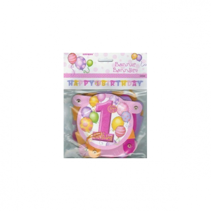 First Birthday Pink Linked Banner
