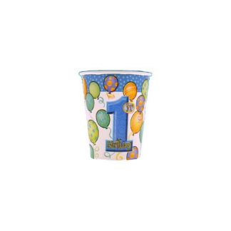 First Birthday Blue Paper Cups (8pk)