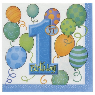 First Birthday Blue Napkins (16pk)