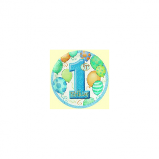 7 inch First Birthday Blue Paper Plate (8pk)