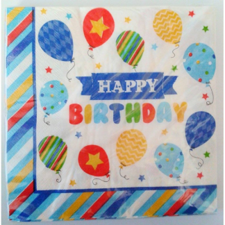 Happy Birthday Balloon Napkins (20pk)