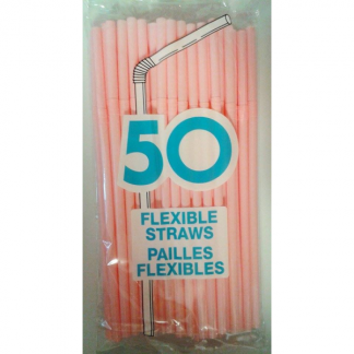 Light Pink Flexible Plastic Straws (50pk)