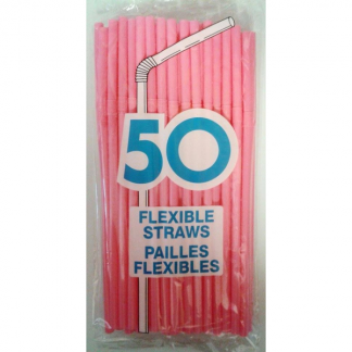 Pink Flexible Plastic Straws (50pk)