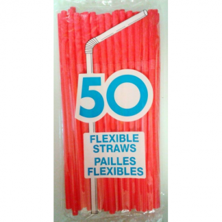 Red Flexible Plastic Straws (50pk)