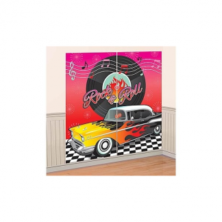 50's Rock & Roll Wall Decorating Kit Scene Setter Backdrop