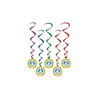 Peace Sign Whirls Hanging Decorations (5pk)