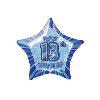 Glitz Birthday Helium 13th Foil Balloon Blue