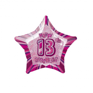 Glitz Birthday Helium 13th Foil Balloon Pink