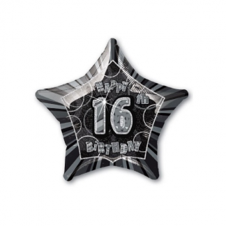 Glitz Birthday Helium 16th Foil Balloon Black