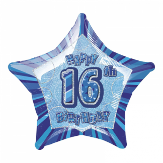 Glitz Birthday 16th Helium Foil Balloon Blue