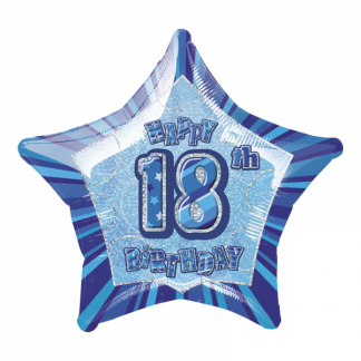 Glitz Birthday 18th Helium Foil Balloon Blue