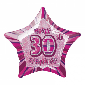 Glitz Birthday 30th Helium Foil Balloon Pink