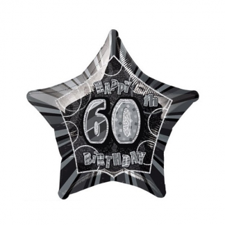 Glitz Birthday 60th Helium Foil Balloon Black