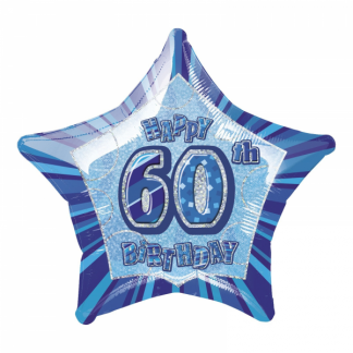 Glitz Birthday 60th Helium Foil Balloon Blue