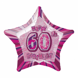 Glitz Birthday 60th Helium Foil Balloon Pink
