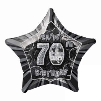 Glitz Birthday 70th Helium Foil Balloon Black
