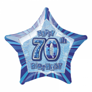 Glitz Birthday 70th Helium Foil Balloon Blue