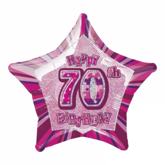 Glitz Birthday 70th Helium Foil Balloon Pink