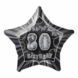 Glitz Birthday 80th Helium Foil Balloon Black