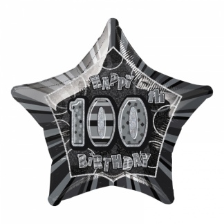 Glitz Birthday 100th Helium Foil Balloon Black