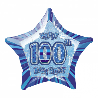 Glitz Birthday 100th Helium Foil Balloon Blue
