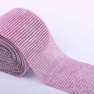 Diamante Effect Ribbon - Pink