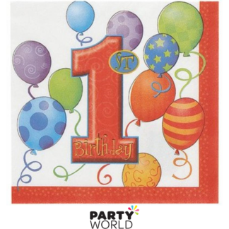 1st Birthday Primary Napkin (16pk)