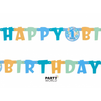 Happy First Birthday Boy Linked Banner