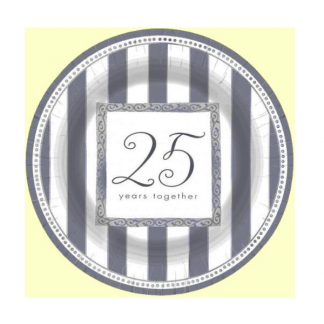 25th Silver Anniversary Plates 7in (8)