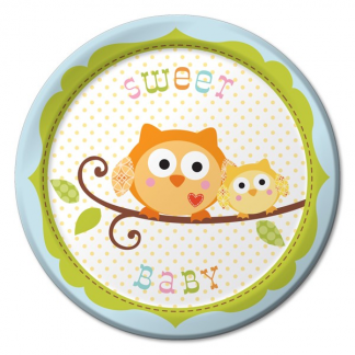 Happi Tree Sweet Baby Owl Plates Blue (8)