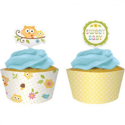 Happi Tree Sweet Baby Owl Cupcake Wraps and Toppers (12)