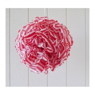 Old Mill Road Paper Pom Poms - Red Stripe
