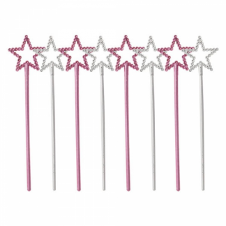 Mini Pink and Silver Star Wands (8)
