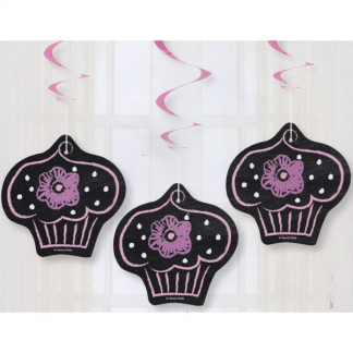 Chalkboard Pink Hanging Decorations (3pk)