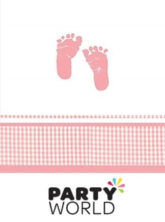 Baby Girl Plaid Pink Little Feet Tablecover