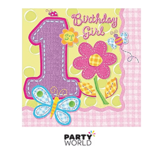 1st birthda girl napkins butterflies and flowers