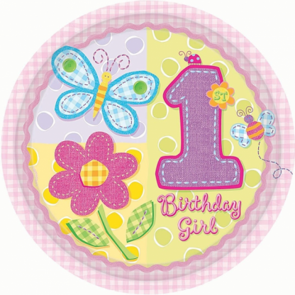 Hugs & Stitches Girl 8 inch Paper Plate (8pk)