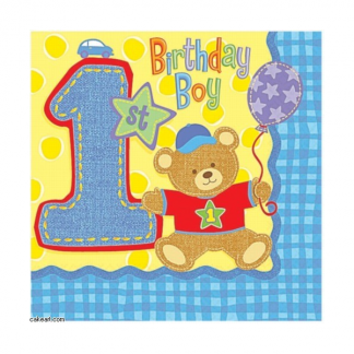 Hugs & Stitches Boy 1st Birthday Beverage Napkin (16pk)