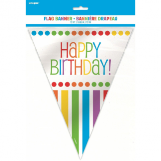 Happy Birthday Rainbow Stripe Bunting