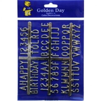 Gold Alpha Numeric Set - Cake Decorations
