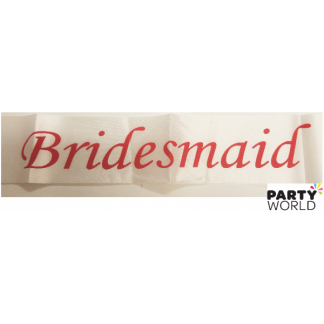 Bridesmaid Sash - White