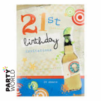 21st Invitations - Beer & Lime (Pad of 20)