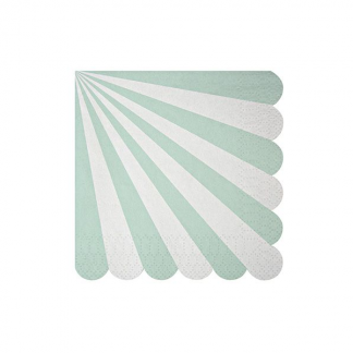 Meri Meri Toot Sweet Mint Stripe Beverage Napkins (20)