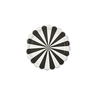 Meri Meri Toot Sweet Black and White Stripe Side 7in Plates (8)