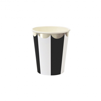 Meri Meri - Black and White Stripe Cups (8) 266ml