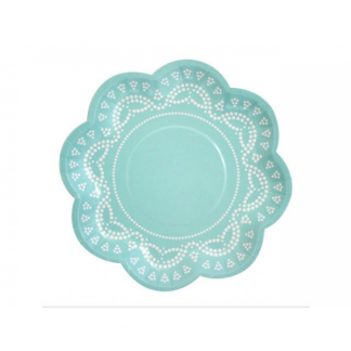 Doily Paper Plates (10) - Tiffanesque Blue