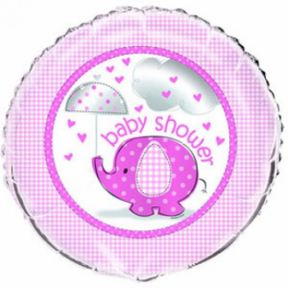 Umbrellaphants Baby Shower Foil Balloon - Pink