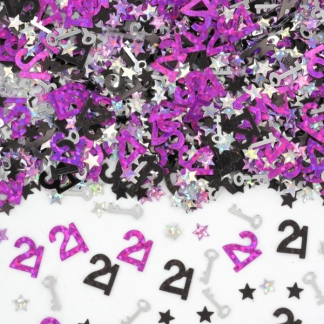 21st Key Confetti/Scatters - Pink, Black & Silver