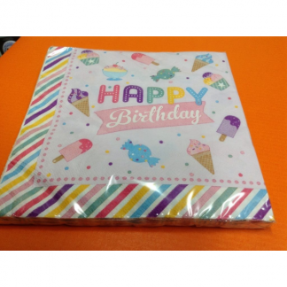 Candy & Ice Cream 'Happy Birthday' Napkins (20)