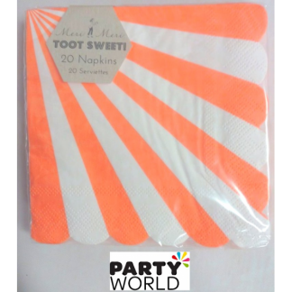 Meri Meri Toot Sweet Orange Stripe Beverage Napkins (20pk)